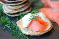 Buckwheat Blini Bites with Smoked Salmon and Crème Fraîche
