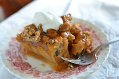 Pumpkin Bread Pudding With Caramel Sauce and Brandied Whipped Cream