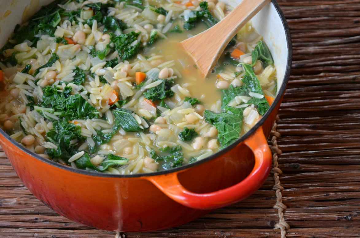 "Orzo-White Bean ""Stoup"" with Kale"